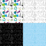 Seamless Doodle Communication Pattern. A seamless doodle pattern with communication icons. Four versions Royalty Free Stock Image