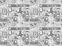 Seamless doodle communication pattern. Cartoon vector illustration Royalty Free Stock Photo