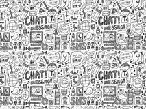 Seamless doodle communication pattern. Cartoon vector illustration Stock Images