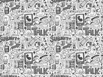 Seamless doodle communication pattern. Cartoon vector illustration Stock Photography