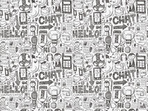Seamless doodle communication pattern. Cartoon vector illustration Stock Photos