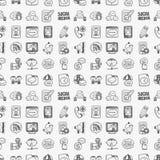 Seamless doodle communication pattern. Cartoon vector illustration Royalty Free Stock Image