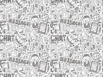 Seamless doodle communication pattern Stock Photos