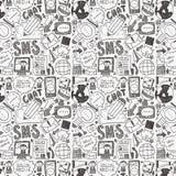 Seamless doodle communication pattern. Cartoon vector illustration Royalty Free Stock Photography