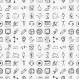 Seamless doodle communication pattern Stock Photo