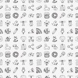 Seamless doodle communication pattern Stock Images
