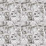 Seamless doodle communication pattern. Cartoon vector illustration Royalty Free Stock Images