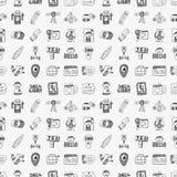 Seamless doodle communication pattern. Cartoon vector illustration Stock Image