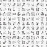 Seamless doodle communication pattern. Cartoon vector illustration Stock Photo