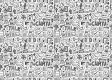 Seamless doodle communication pattern Stock Image