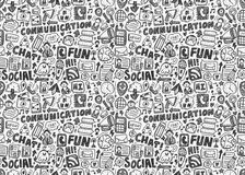 Seamless doodle communication pattern Royalty Free Stock Photos