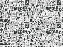 Seamless doodle communication pattern. Vector illustration file Stock Photography