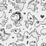 Seamless doodle dinosaur pattern Royalty Free Stock Photo
