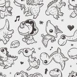 Seamless doodle dinosaur pattern. Cartoon vector illustration Royalty Free Stock Photo