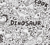 Seamless doodle dinosaur pattern Stock Photos