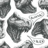Seamless doodle dinosaur pattern. eps8 Stock Photos