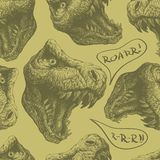 Seamless doodle dinosaur pattern. eps8 Royalty Free Stock Photography