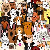 Seamless doodle dogs colorful background. A lot of breeds in it vector illustration