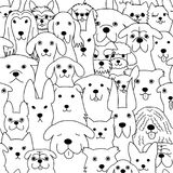 Seamless doodle dogs line art background. Black and white stock illustration