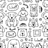 Seamless doodle dogs line art on white background. Doodle pattern of variations of different dogs with elements. Seamless royalty free illustration