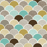 Seamless doodle dots scallop pattern. Seamless doodle dots colorful scallop pattern vector illustration