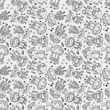 Seamless doodle family pattern Stock Images