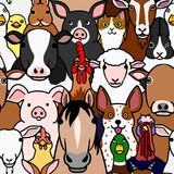 Seamless doodle farm animals faces color background. Seamless doodle farm animals colorful background, a lot of characters in it vector illustration