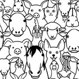 Seamless doodle farm animals faces line art background. Seamless doodle farm animals line art background, a lot of characters in it vector illustration