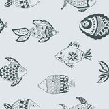 Seamless doodle fish pattern Stock Image