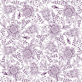 Seamless doodle floral background. Seamless ethnic style cute floral background Royalty Free Stock Images
