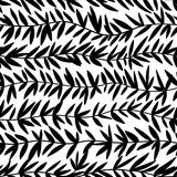Seamless doodle floral pattern. Endless wave branch with leaves. Vector seamless background in black and white. Seamless doodle floral pattern. Endless wave vector illustration