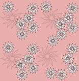 Seamless doodle floral pattern on pink. Background vector illustration