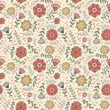 Seamless doodle flower pattern, vector. Royalty Free Stock Images