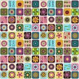 Seamless doodle flowers, leaves, hearts pattern. Royalty Free Stock Photo