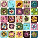 Seamless doodle flowers, leaves, hearts pattern. Royalty Free Stock Photos