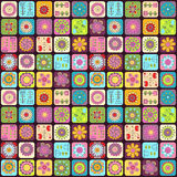 Seamless doodle flowers, leaves, hearts pattern. Royalty Free Stock Photography