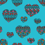 Seamless doodle geometric pattern with hearts. Stock Photography