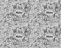 Seamless doodle halloween holiday background Stock Photos
