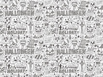 Seamless doodle halloween holiday background Royalty Free Stock Photo
