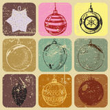 Seamless doodle hand drawn christmas baubles Royalty Free Stock Image