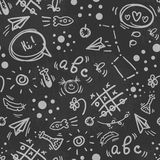 Seamless doodle hand drawn pattern BACK TO SCHOOL Stock Images