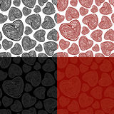 Seamless Doodle Heart Pattern. Seamless heart pattern in 4 variations. Easy to edit Stock Image