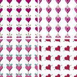 Seamless Doodle Heart Pattern. Seamless Heart Doodle Pattern in four variations Stock Photos