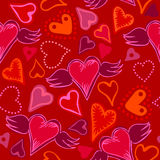 Seamless doodle hearts on red background Stock Photography
