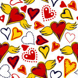 Seamless doodle hearts on white background Royalty Free Stock Photography