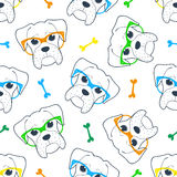 Seamless doodle hipster pattern with a boxer in glasses. Royalty Free Stock Images