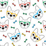Seamless doodle hipster pattern with a bulldog in glasses Royalty Free Stock Photography