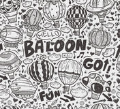 Seamless doodle hot air balloon pattern Stock Photo