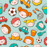 Seamless doodle kids background Stock Photos
