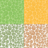 Seamless Doodle Leaf Pattern. Spring and Autumn variations of a leaf seamless pattern Stock Images